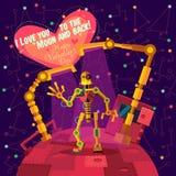 Illustration de vecteur dans le style plat au sujet du robot Carte de voeux Images libres de droits