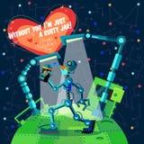 Illustration de vecteur dans le style plat au sujet du robot Carte de voeux Photos libres de droits
