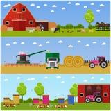 Illustration de vecteur dans le style plat Ensemble d'agriculture, blé moissonnant, bannières de concept de l'apiculture Photo libre de droits