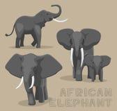 Illustration de vecteur de bande dessinée d'éléphant africain illustration libre de droits