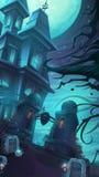 Illustration de vecteur de bande dessinée d'un château sombre