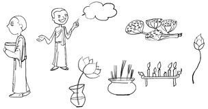 Illustration de vecteur de bande dessinée de Bouddha de jeune bande dessinée de moine Image stock