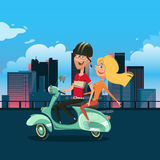 Illustration de vecteur de bande dessinée de scooter d'équitation de couples Images stock