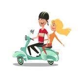 Illustration de vecteur de bande dessinée de scooter d'équitation de couples Photo stock