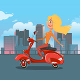 Illustration de vecteur de bande dessinée de scooter d'équitation de fille Photos stock