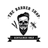 Illustration de vecteur de Barber Shop Logo Design Template de vintage de crâne Photo libre de droits