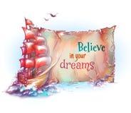 Illustration de vecteur de bateau de voile dans l'océan avec Photos stock