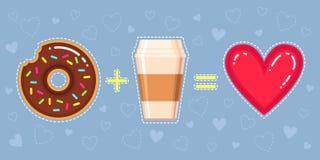 Illustration de vecteur de beignet avec le lustre de chocolat, la tasse de café et le coeur rouge Photographie stock libre de droits