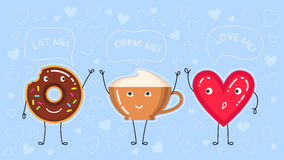 Illustration de vecteur de beignet avec le lustre de chocolat, la tasse de café et le coeur rouge Image stock
