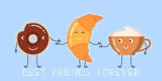 Illustration de vecteur de beignet avec le lustre de chocolat, la tasse de café et le croissant Photo libre de droits
