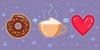 Illustration de vecteur de beignet avec le lustre de chocolat, la tasse de cappuccino et le coeur rouge Photos stock