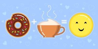 Illustration de vecteur de beignet avec le lustre de chocolat, la tasse de cappuccino et le visage jaune de sourire Photos stock