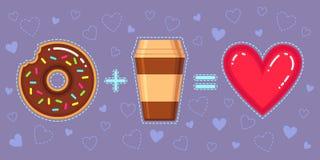 Illustration de vecteur de beignet avec le lustre de chocolat, le café et le coeur rouge Photographie stock