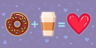 Illustration de vecteur de beignet avec le lustre de chocolat, le café et le coeur rouge Photos stock