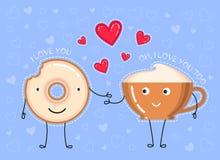 Illustration de vecteur de beignet avec le lustre de chocolat, tasse de café Photographie stock
