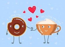 Illustration de vecteur de beignet avec le lustre de chocolat, tasse de café Photographie stock libre de droits
