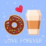 Illustration de vecteur de beignet avec le lustre de chocolat, tasse de café, coeur rouge Photo libre de droits