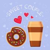 Illustration de vecteur de beignet avec le lustre de chocolat, tasse de café, coeurs rouges Photos stock