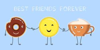 Illustration de vecteur de beignet avec le lustre de chocolat, tasse de café, emoji jaune de sourire Photo stock