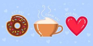 Illustration de vecteur de beignet avec le lustre de chocolat, tasse de cappuccino, coeur rouge Photographie stock libre de droits