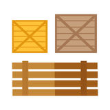 Illustration de vecteur de boîtes en bois dans la conception plate Photos stock