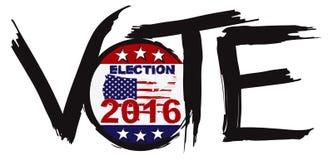Illustration 2016 de vecteur de brosse d'encre d'élection de vote Photos libres de droits