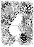 Illustration de vecteur de cadre floral Zen Tangle Dudlart Anti effort de livre de coloriage pour des adultes Page de coloration  illustration stock