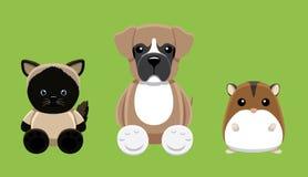 Illustration 2 de vecteur de Cat Hamster Pet Doll Cartoon de chien Photographie stock libre de droits