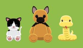 Illustration 6 de vecteur de Cat Python Pet Doll Cartoon de chien Photographie stock libre de droits