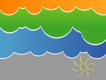 Illustration de vecteur de ciel stylisé avec des nuages Photos libres de droits
