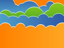 Illustration de vecteur de ciel stylisé avec des nuages Photographie stock