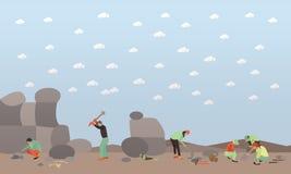 Illustration de vecteur de concept d'excavation dans le style plat Image stock