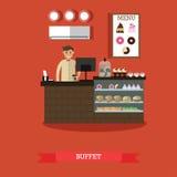 Illustration de vecteur de concept de buffet dans le style plat Photographie stock libre de droits