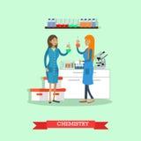 Illustration de vecteur de concept de chimie dans le style plat Image stock