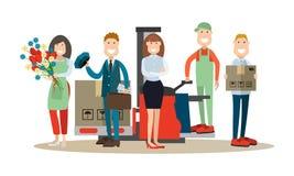 Illustration de vecteur de concept de personnes de la livraison dans le style plat illustration stock