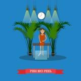 Illustration de vecteur de concept de thérapie de station thermale de poissons Photographie stock