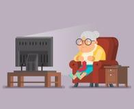 Illustration de vecteur de conception de vieille Madame Watching TV Sit Armchair Cartoon Character Flat Photographie stock libre de droits