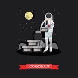 Illustration de vecteur de cosmonaute dans le style plat Photos stock