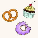 Illustration de vecteur de couleur de bretzel de petit gâteau de beignet Images stock