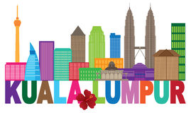 Illustration de vecteur de couleur de Kuala Lumpur City Skyline Text Photos stock