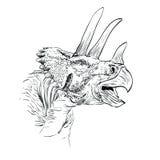 Illustration de vecteur de croquis de dinosaur de Triceratops Image libre de droits