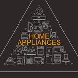 Illustration de vecteur de différents appareils ménagers Bannière pour votre société ou magasin Photographie stock