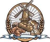 Illustration de vecteur de fabrication de pain dans le style de gravure sur bois Image libre de droits