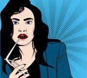 Illustration de vecteur de femme d'affaires avec des sunglass Photo libre de droits