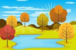Illustration de vecteur de fond d'Autumn Landscape Photo stock