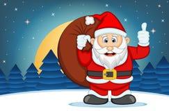 Illustration de vecteur de fond de Santa Claus With Star, de ciel et de colline de neige illustration de vecteur