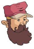 Illustration de vecteur de hippie avec une barbe et utiliser un chapeau Photo libre de droits