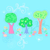 Illustration de vecteur de jardin de trois arbres Images stock