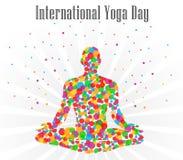 Illustration de vecteur de jour de yoga du monde, fond blanc illustration libre de droits
