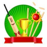 Kit de cricket avec le trophée Image stock